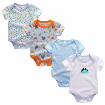 Promotion 4pcs/lot Baby soft cotton Rompers Short Sleeve Summer Baby Wear Infant Cartoon Jumpsuit Boy Girl Cloth Roupas Infantil