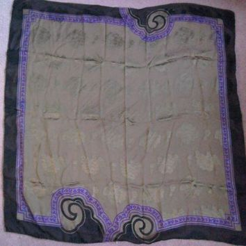DCCKWA2 Vintage Gianni Versace 100% silk scarf. Black,Purple &Gold with flowers & leaves