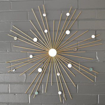 "Choose Your Size! 26"" Hand Welded by Lisa Steel Starburst Sunburst Modern Metal Wall Art Mirror Sculpture Atomic Interior House Staging"