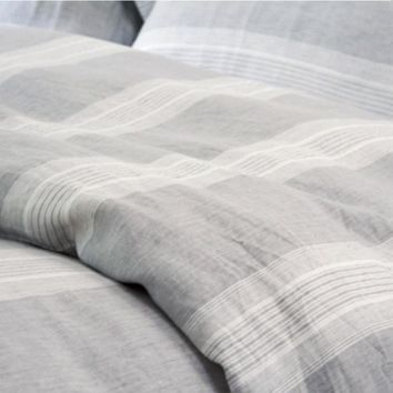 Bedding, 100% Pure Linen, Yarn Dyed Strip Bedding Set,  Water Wash Soft Linen