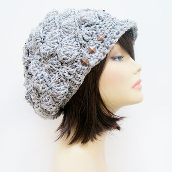 FREE SHIPPING - Crochet Shell Slouchy Brim Hat - Speckled Gray with Brown metal studs