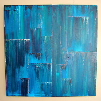 Wall Decor, Home Decor Gift for Man & Woman, Great Fathers Day Gift--Turquoise White Sapphire Blue--Acrylic Abstract Painting 2'x2'