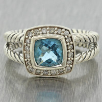 David Yurman Designer Modern Estate 925 Silver .20ctw Diamond Blue Topaz Ring