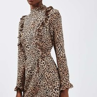 Leopard Print Ruffle Dress - Transitional Dresses - We Love