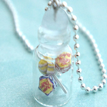 chupa chups lollipops in a jar necklace