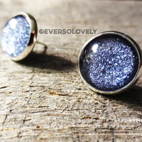 BLUE WATER - purple lavender summer night starry skies - handmade blue violet round earrings sparkly metallic nickel free post