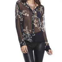 Chaser Silk Long Sleeve Sheer Floral Button Down