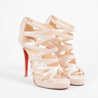 DCCK2 Christian Louboutin Beige Nude Patent Leather Strappy Fernando Pumps