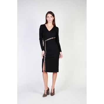Cavalli Class Black V-Neck Long Sleeve Dress