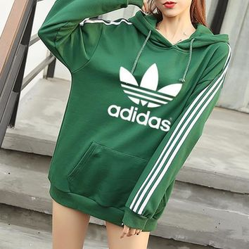 Adidas Women Casual Stripe Letter Clover Print Loose Long Sleeve Pullover Hooded Sweater Sweatshirt