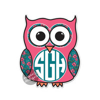 Custom Monogram Owl Decal - Colorful Floral Cute Car Sticker Decal Personalized Initial Laptop Bumper Sticker Teal Pink Boho Vintage Flowers