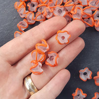 Orange Zig Zag  Line Frosty Translucent Pinched Wave Artisan Handmade Glass Bead - 15 x 12mm - 10pcs