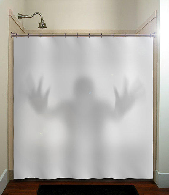 Halloween Gray Scary Ghost Shower Curtain From Tablishedworks On