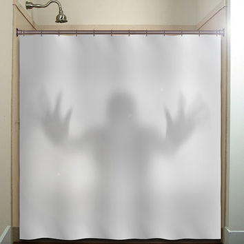 halloween gray scary ghost shower curtain bathroom decor fabric kids bath white black custom duvet cover rug mat window