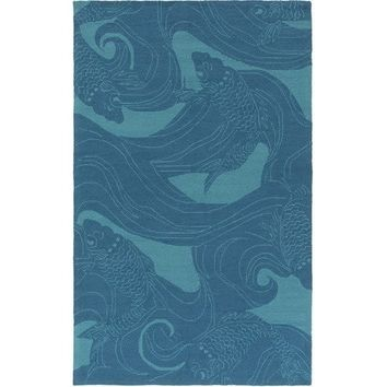 Outdoor Teal and Turquoise Koi Fish Rug