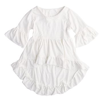 Helen115 Special Kid Baby Girl Summer White Flare Sleeves Asymmetrical Cotton Dresses 1-6Years