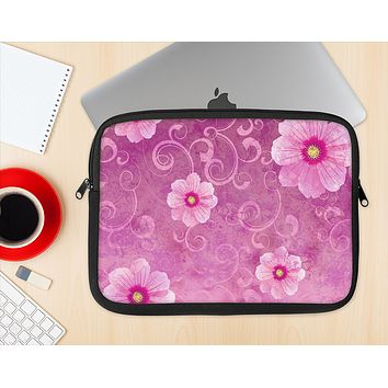 The Pink Vintage Flowers with Swirls Ink-Fuzed NeoPrene MacBook Laptop Sleeve