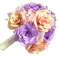 Rose gold Bridal party bouquet package, Rose gold and lavender wedding bouquets, Paper Bouquet, Pearl Brooch bouquets, Satin ribbon bouquet
