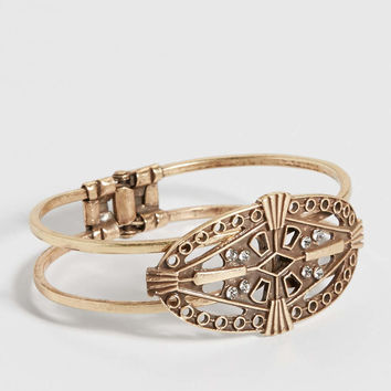medallion cuff bracelet with rhinestones | maurices