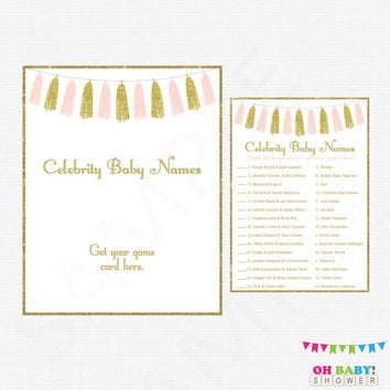 Pink and Gold Baby Shower, Celebrity Baby Name Game, Baby Shower Printables, Girl Baby Shower Games, Glitter Tassels, Instant Download TASPG