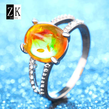Orange 6 Fashion Ring For Imitation Amber Oval Stones Women 2016 Vintage Charm Silver Plated Jewelry Of Love Wedding Rings ZK Brand Z0061