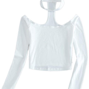 White Halter Off Shoulder Long Sleeve Crop Top