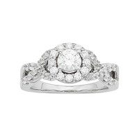 Diamonore Simulated Diamond Halo Engagement Ring in Sterling Silver (1 1/4 Carat T.W.) (White)