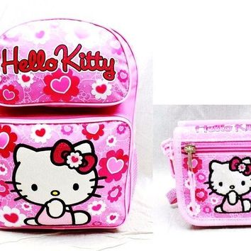 "Sanrio Hello Kitty Girls 16"" Canvas Pink School Backpack with Wallet"