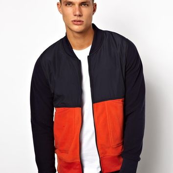 Jack & Jones Fleece Baseball Jacket With Nylon Panel -