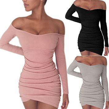 Sexy Women Bodycon Off Shoulder Dress Long Sleeve  Party Club Short Mini Dresses FS99