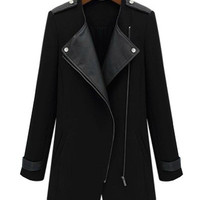 Black Faux Leather Winter Jacket