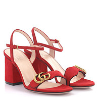 Gucci Red Leather Sandals