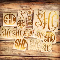 Monogram Sticker or Decal Set of 15 Monograms - Vine, Circle Monogram Variety Pack - Laptop, Car, iPhone, Phone Decals. Huge value!