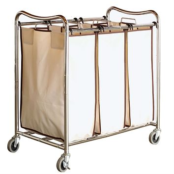 Heavy Duty Laundry Cart with 3 Cream Tan Hamper Bags & Lockable Wheels