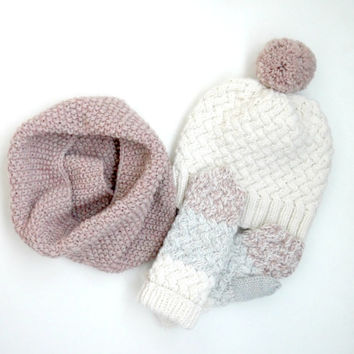 SET HAT , COWL and mittens - knitted hat - knit cowl - knit mittens