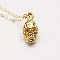 Gold Skull Necklace / Tiny Skull / Dainty Skull / Skull Charm / Skull Jewelry / Skeleton Necklace