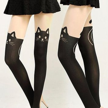Summer Style Fashion Gifts Fashion New Women Silk Stockings Pantyhose Ribbed Over Cute Cat Rabbit Sexy Slim Tights 2016 New