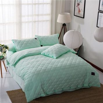 Home textile quilt duvet cover set green solid bedding sets wash polyester&cotton queen king size bed sheet pillowcase bedspread