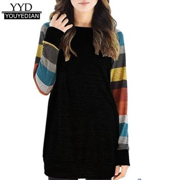 Women Striped Patchwork T shirt Women Cotton 2017 Fashion Autumn Spring Long Sleeve Casual Tunic Tops T Shirt Female &1201
