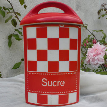 Czech kitchen sugar canister, red and white kitchen storage, orange and white sugar container, vintage kitchen canister