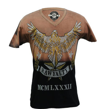 Rawyalty Couture Men's Full Bling Gold Eagle T-Shirt 2Tone Rust
