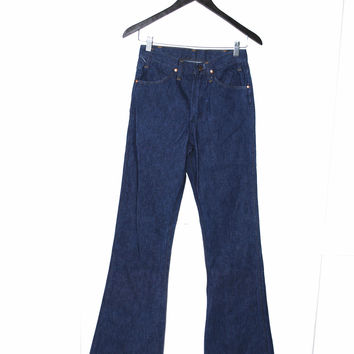 1970s vintage bell bottoms retro 70s high waisted dark wash bell bottom jeans boho hippie jeans size 25 26