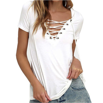 Women Summer  Lace Up Causal Short Sleeve T Shirt Women Hollow out Strappy Front T-shirt Ladies Tee Tops New Color