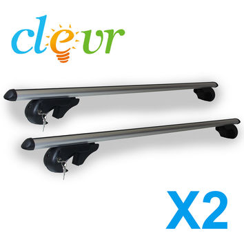 "NEW Universal Aluminum 53"" Adjustable Locking Cross Bar Cargo Roof Rack Lockable"
