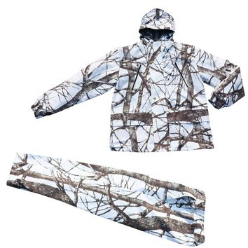 Winter Cold Weather Thicken Lining Fleece White Snow Bionic Camouflage Hunting Tactical Fishing Clothing Ghillie Suit Jacket Pan