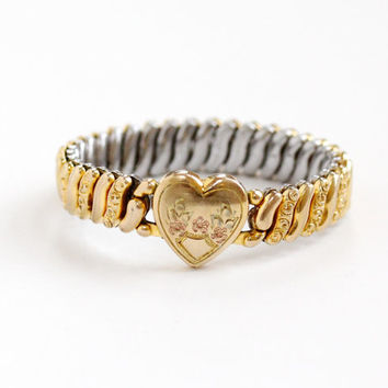 Vintage Heart & Flower Childs Expansion Bracelet - WWII Era 1940s Yellow Gold Filled Repousse Sweetheart Jewelry Hallmarked American Queen