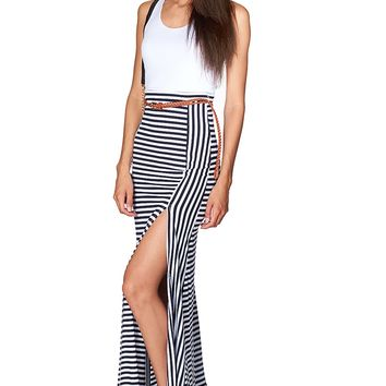Stripe Maxi Dress - White from Goodtime USA at ShopRoxx.com