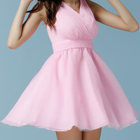 Pink Sleeveless V-Neckline High Waist Skater Dress