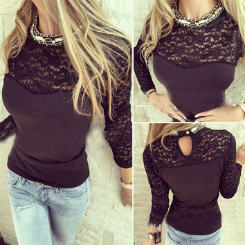 Winter Hollow Out Lace Patchwork T-shirts Women's Fashion Bottoming Shirt [4956167748]