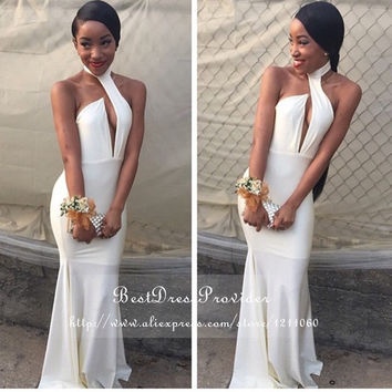 Popular Halter Mermaid Prom Dress Off The Shoulder Floor Length Stretch Satin Long White Prom Dresses 2016